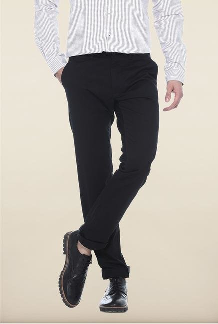 Basics Black Solid Straight Fit Cotton Chinos