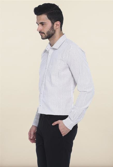 Basics White Windowpane Checked Casual Shirt