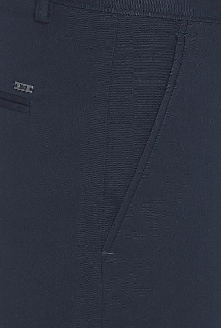 Basics Navy Solid Straight Fit Cotton Chinos