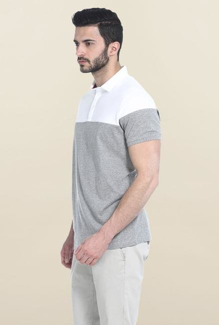 Basics Grey & White Polo T-Shirt