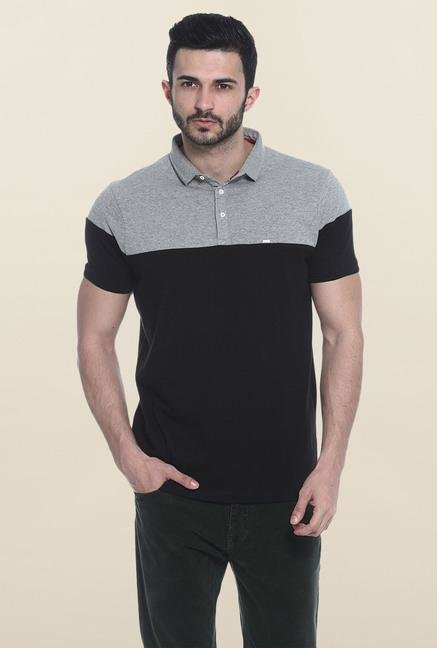 Basics Black & Grey Polo T-Shirt