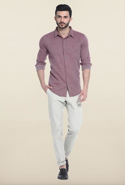 Basics Beige Solid Straight Fit Cotton Chinos