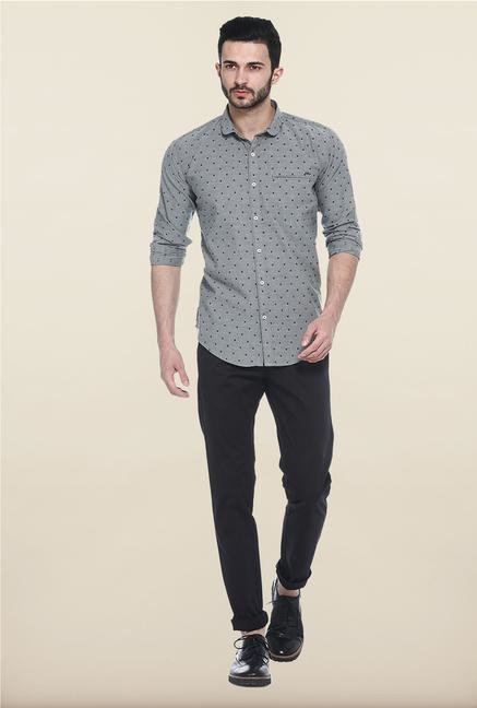 Basics Grey Dot Print Slim Fit Cotton Shirt