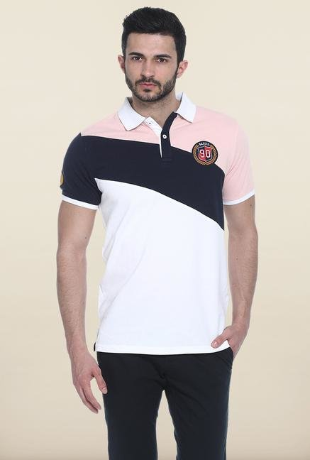 Basics White Solid Slim Fit Polo T-Shirt