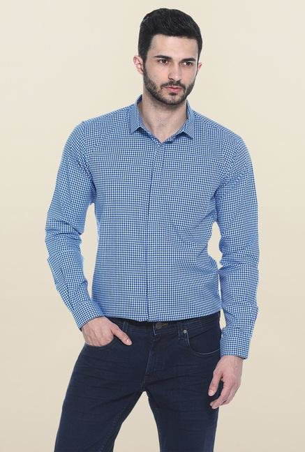 Basics Aqua Blue Printed Casual Shirt