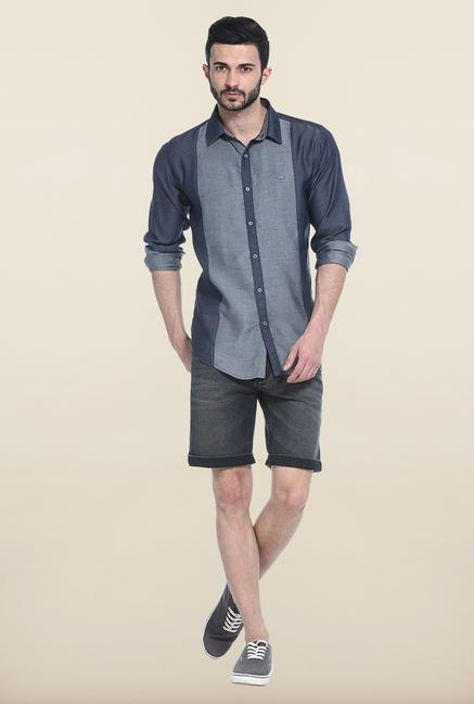 Basics Blue Solid Casual Shirt