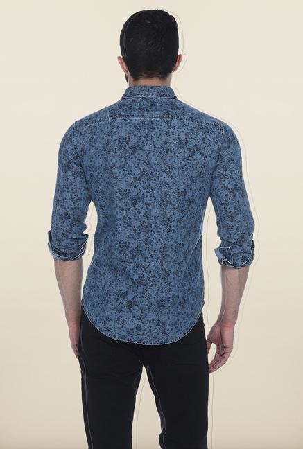 Basics Blue Printed Casual Shirt