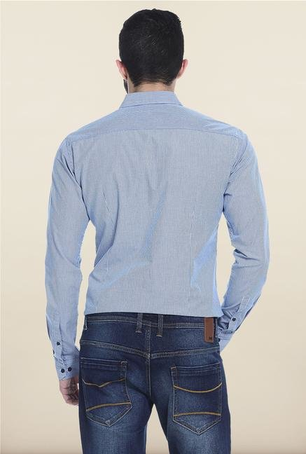 Basics Blue Checks Cotton Casual Shirt