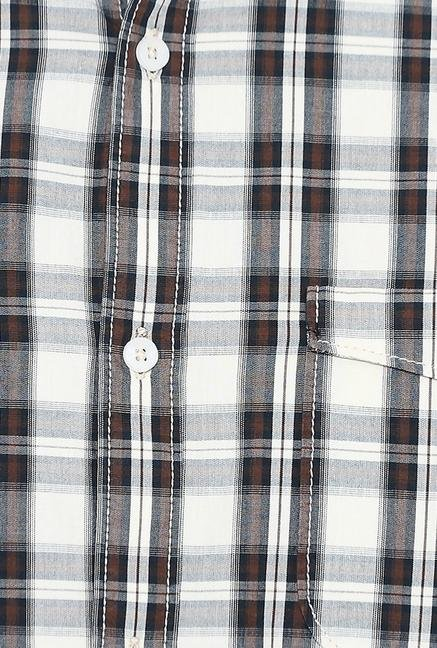 Basics White And Black Checks Cotton Casual Shirt