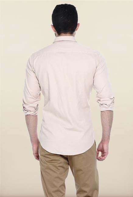 Basics Beige Solid Casual Shirt