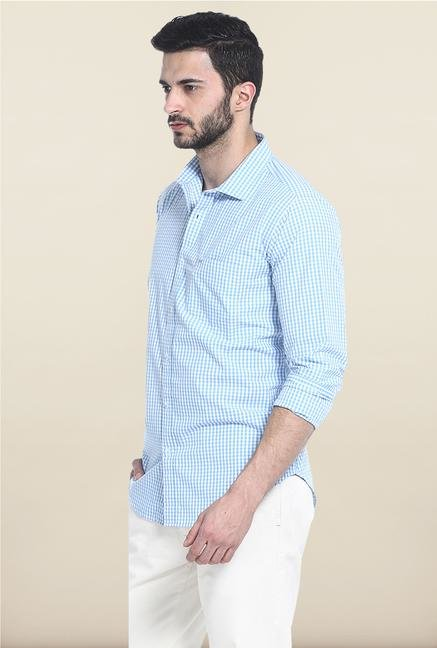Basics Sky Blue Checks Casual Shirt