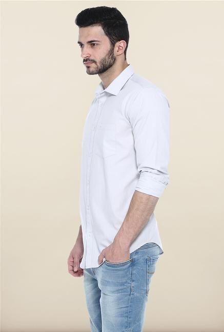 Basics Light Grey Solid Cotton Casual Shirt