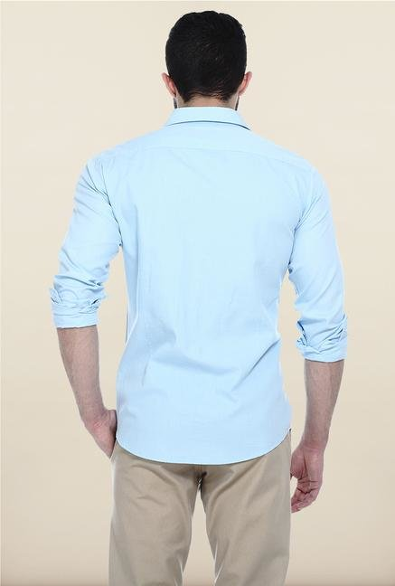 Basics Aqua Blue Solid Casual Shirt