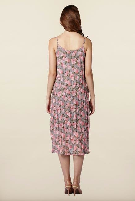 AND Grey Floral Print Casual Dress