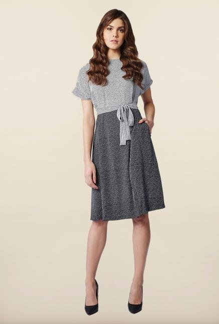 AND Black & White Pin Stripes Casual Dress