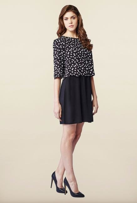 AND Black Floral Print Casual Dress