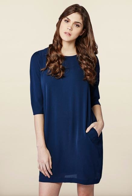 AND Navy Solid Casual Dress