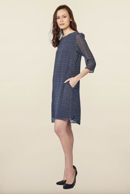 AND Navy Printed Casual Dress