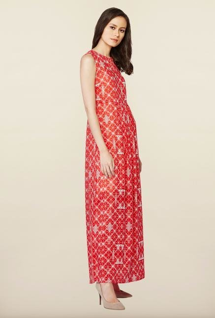 AND Red Printed Casual Dress