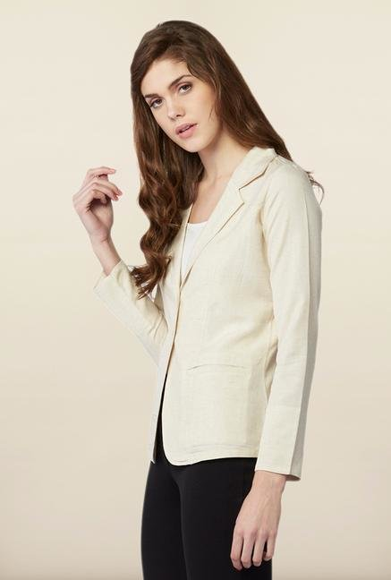 AND Beige Solid Blazer