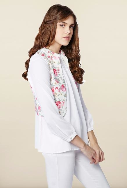AND White Floral Printed Jacket