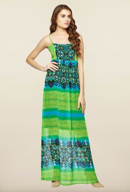 AND Green Printed Slim Fit Casual Dress