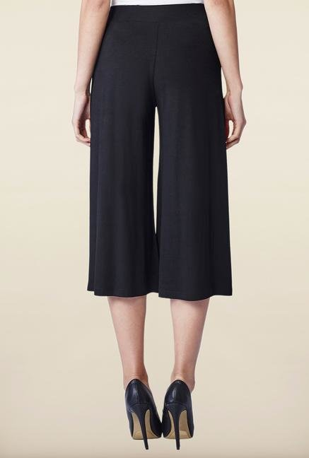 AND Black Solid Culottes