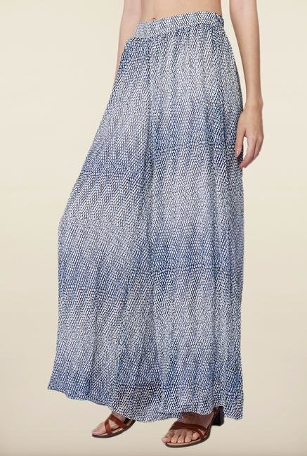 AND Blue Printed Palazzo