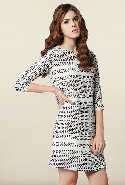 AND White Printed Casual Dress