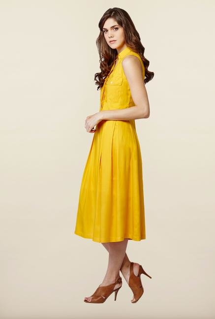 AND Ochre Solid Casual Dress