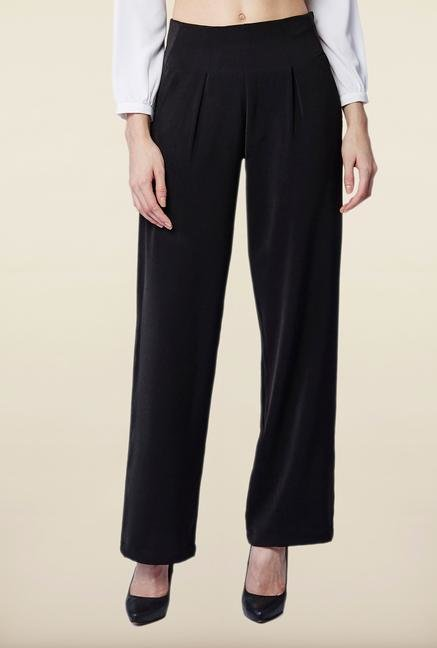 AND Black Solid Casual Pant