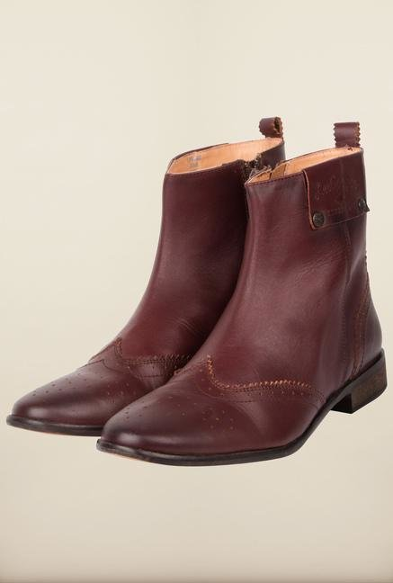 Lee Cooper Maroon Biker Boots for Women