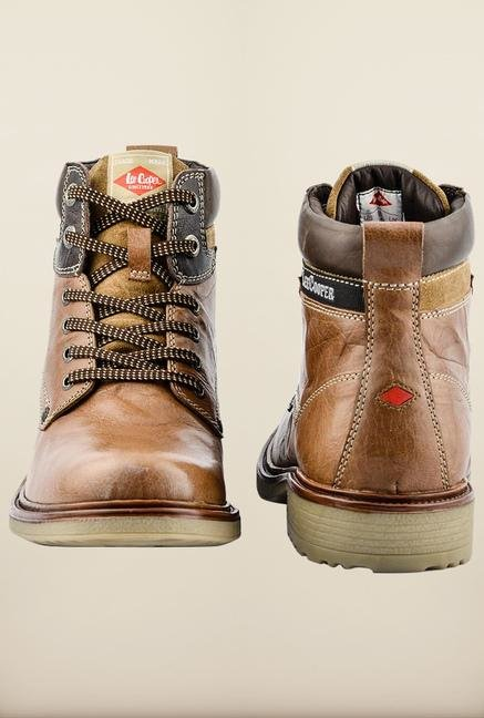 Lee Cooper Tan Ankle Strap Boots