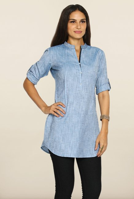 Soch Light Blue Solid Linen Tunic