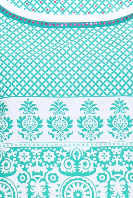 Soch White & Sea Green Printed Kurta