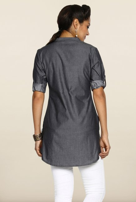 Soch Dark Grey Jacquard Tunic