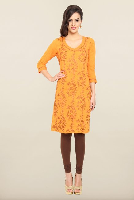 Soch Orange Embroidered Kurti
