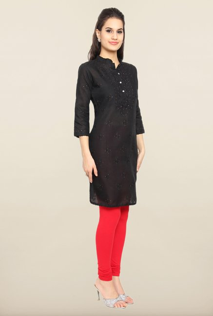 Soch Black Embroidered Kurti
