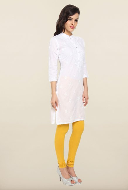 Soch White Embroidered Kurti