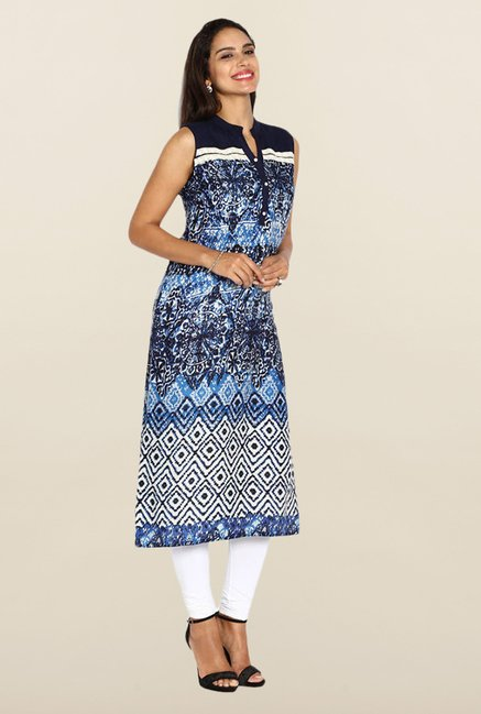Soch Royal Blue Batic Print Kurta