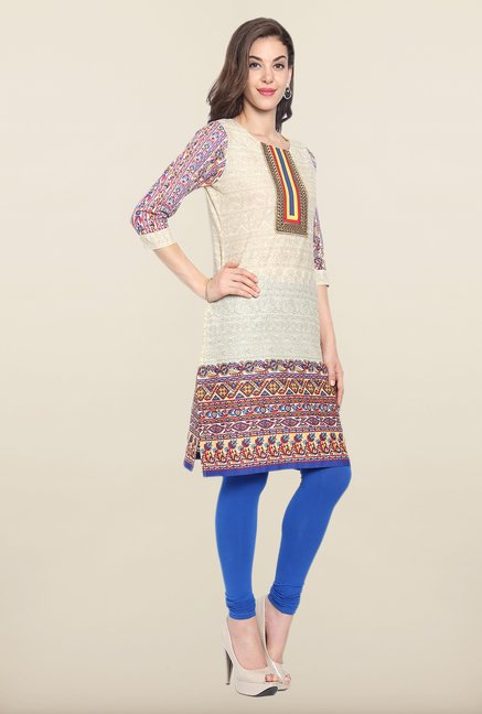 Soch Beige & Purple Cotton Kurti