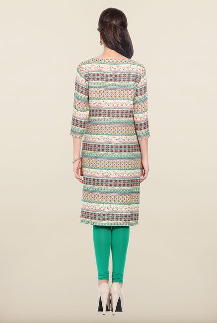 Soch Beige & Green Printed Cotton Kurta