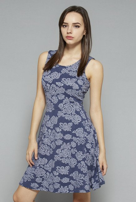 Nuon by Westside Blue Printed Skater Dress
