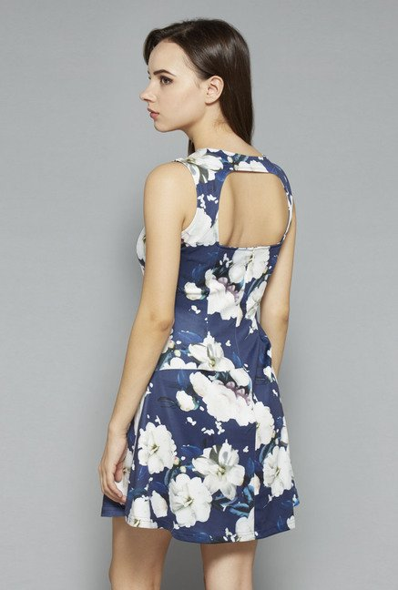 Nuon by Westside Navy Floral Skater Dress