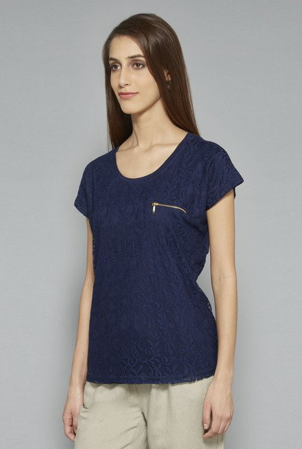 L.O.V Navy Lace Top