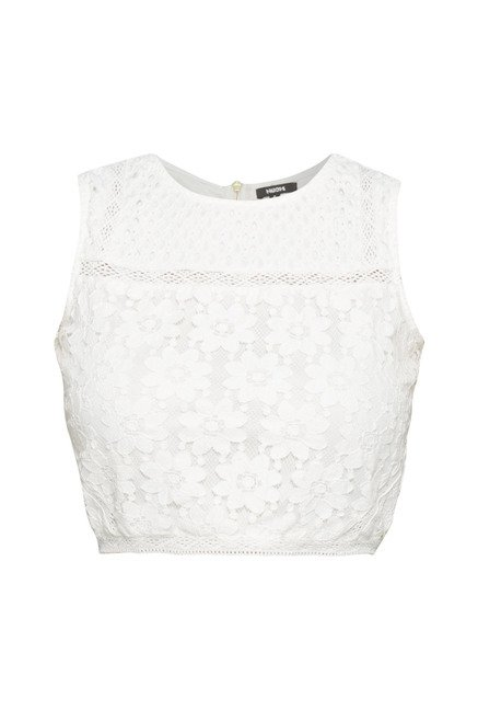 Nuon by Westside White Lace Crop Top