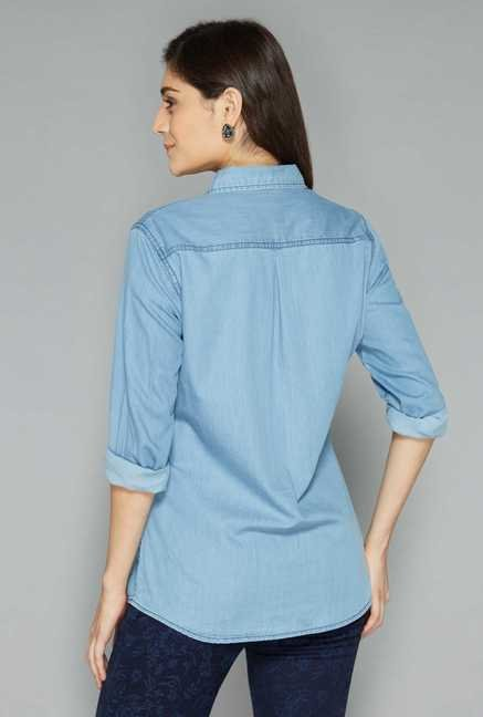 L.O.V Light Blue Solid Shirt
