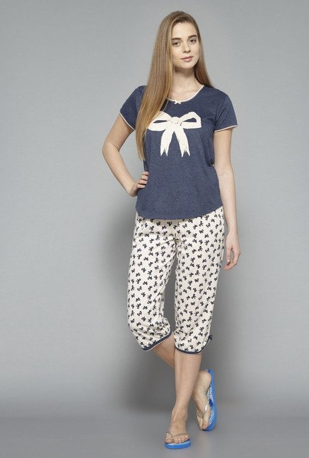 Intima Beige And Navy Printed Capris Set