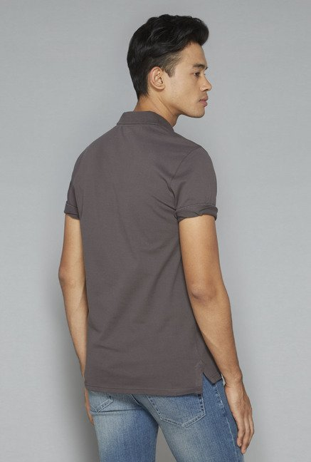 Nuon by Westside Grey Solid T-Shirt