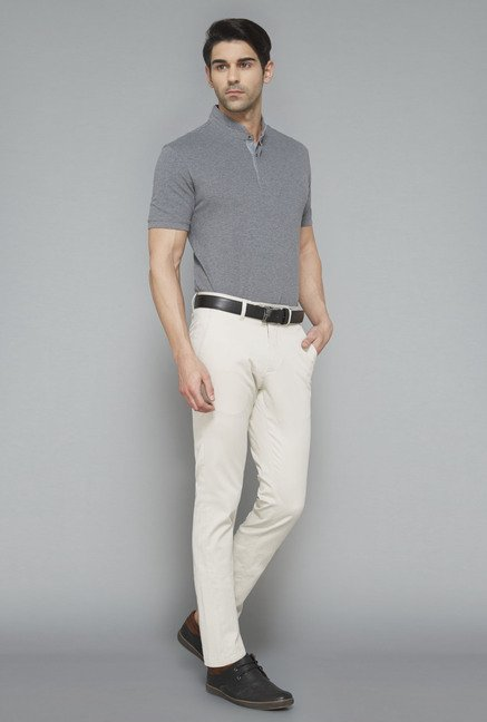Ascot Grey Solid T-Shirt